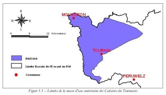 Limite de la masse d'eau souterraine des Cakaires du Tournaisis.